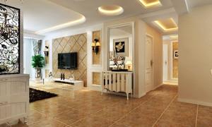 三居室简朴型客厅吊顶装修效果图