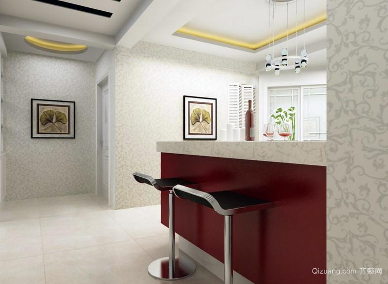 128平米简约风格吧台设计装修效果图