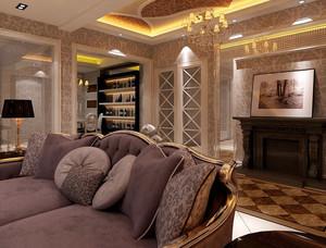 欧式风格一层别墅客厅奢华沙发装饰效果图