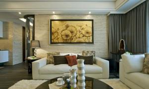 单身公寓艺术型客厅现代装饰画效果图