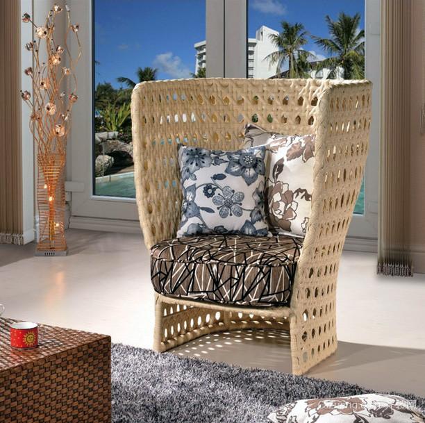 时尚公寓客厅藤编沙发装修效果图片