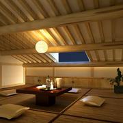 别墅日式风格榻榻米床装修效果图