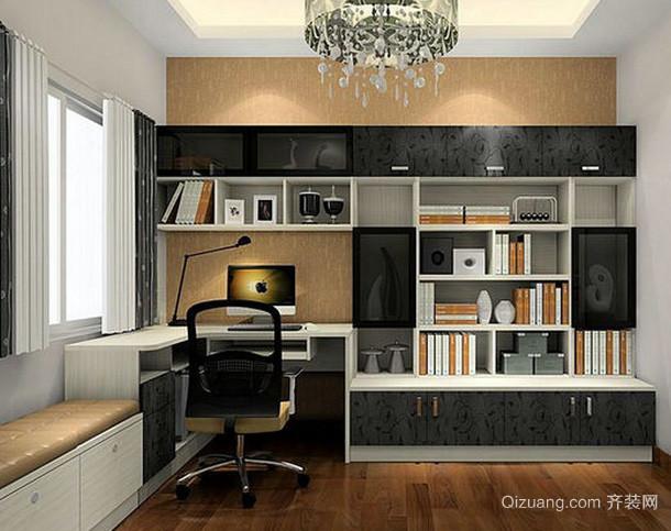 复式楼后现代风格深色系书桌电脑桌装饰效果图