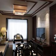 中式老年公寓家装客厅电视背景墙装修图片