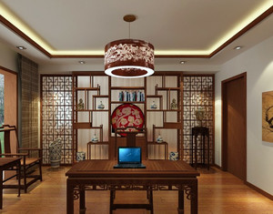 两室一厅简约风格中式客厅博古架装修效果图