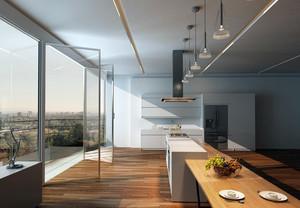 简约大别墅厨房玻璃隔断门装修效果图