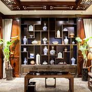 大型别墅整体式客厅中式博古架装修效果图