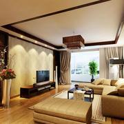 单身公寓清新风格客厅吊顶装修效果图