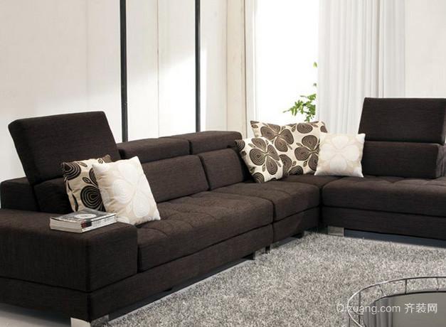 后现代风格深色系客厅布艺沙发装修效果图