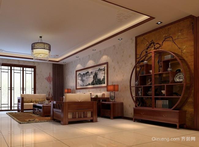复式楼中式简约风格客厅拱形博古架装修效果图