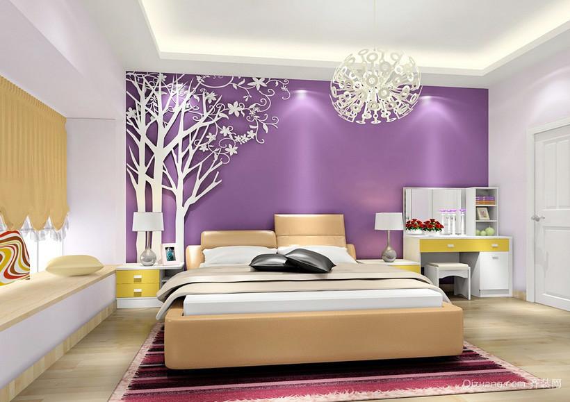 前卫现代浅紫色房间大卧室装修设计图