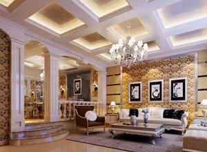 180平米欧式风格精致一层别墅客厅装修效果图