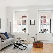 北欧公寓小客厅黑白装饰画装修效果图片