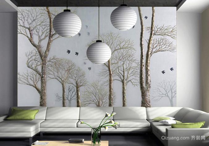 128平米实用型艺术玻璃背景墙效果图片