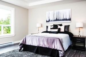 简约一居室卧室黑白装饰画装修效果图片