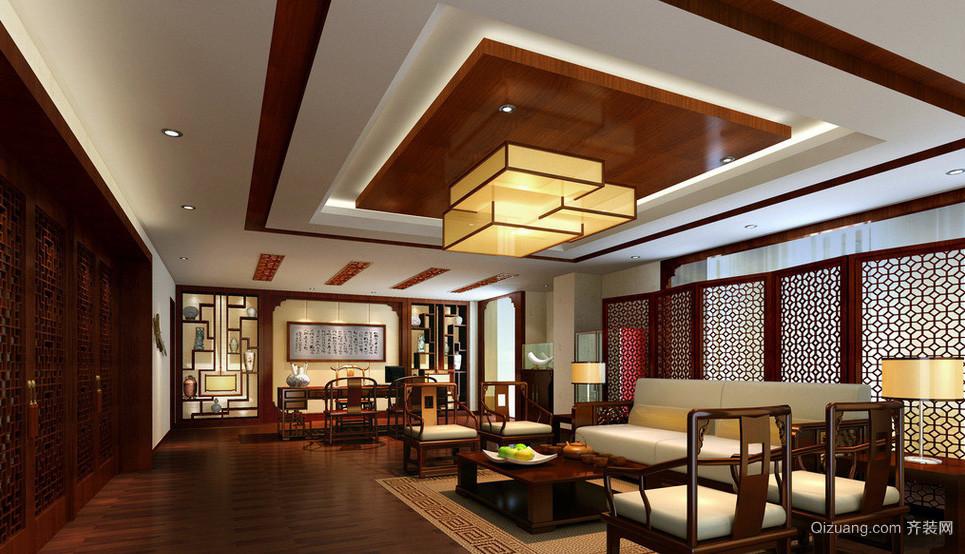 中式儒雅大型办公室装饰设计效果图