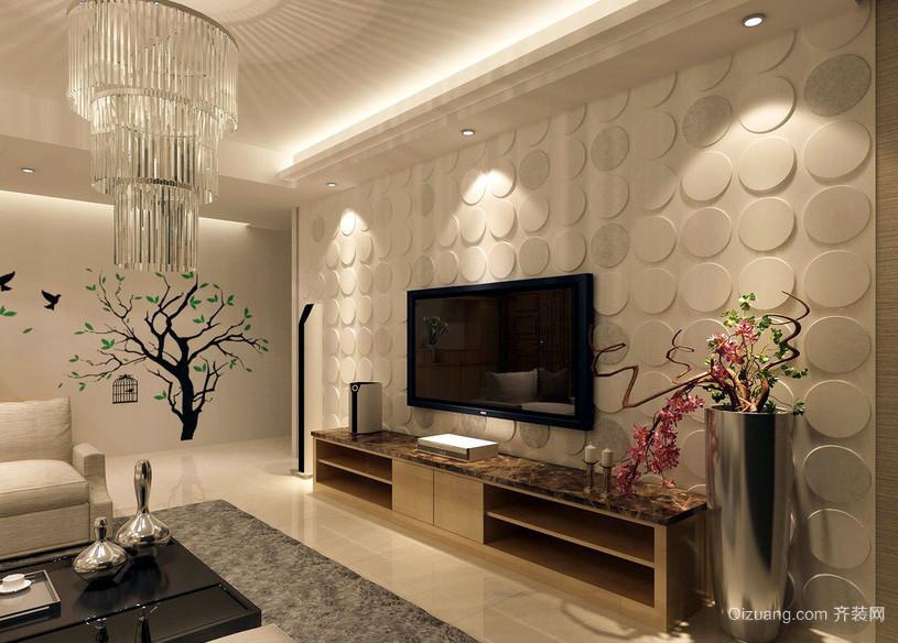 浅色大户型家装客厅电视背景墙装修图片