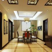 新中式家居室内餐厅黑白装饰画效果图片