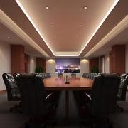 深色调会议室效果图
