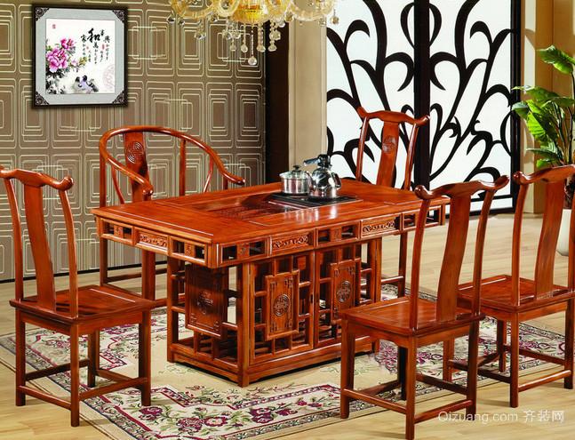120平米中式四合院客厅花梨木家具图片
