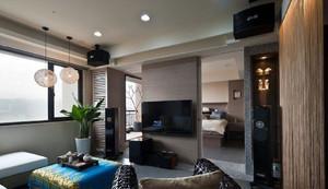 90平米混搭家装电视背景墙隔断装修图片