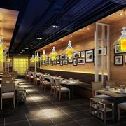 90平米美式简约风格大型餐饮店装饰效果图