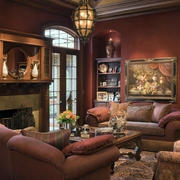 180平米美式简约风格一层别墅客厅装修效果图