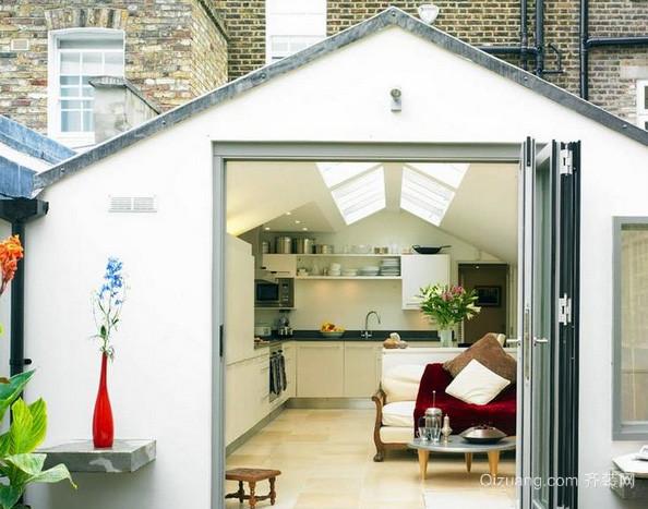 小户型美式清新风格厨房折叠门装饰效果图