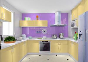 100平米浅紫色房间厨房装修设计效果图