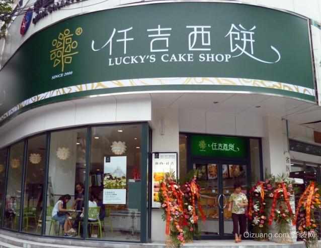 街角现代简约大型弧形蛋糕店门饰装饰效果图设计