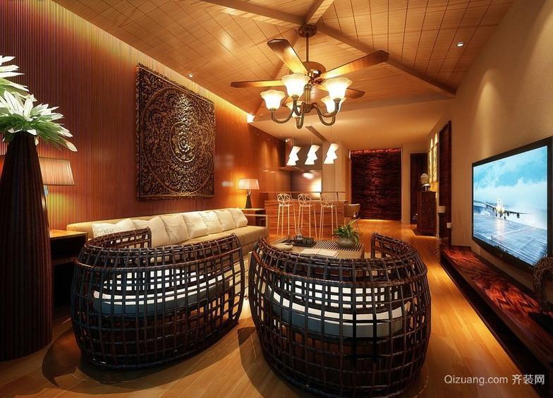 美式别墅客厅藤编沙发装修效果图片
