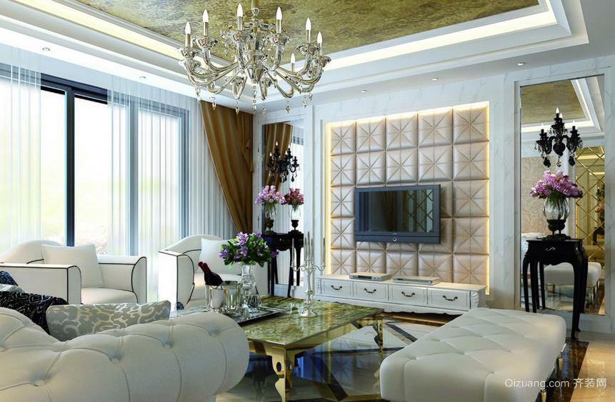 别墅简欧客厅电视软包背景墙装修图片