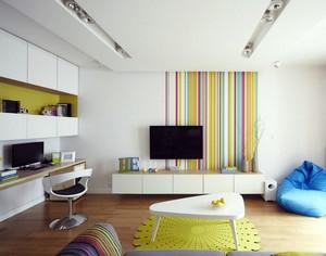 彩色小公寓家装客厅电视背景墙装修图片
