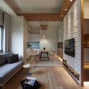 日式简约小客厅电视背景墙装修图片