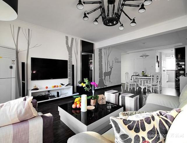 三室一厅室内黑白装饰画装修效果图片