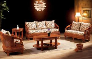 田园美式客厅藤编沙发装修效果图片