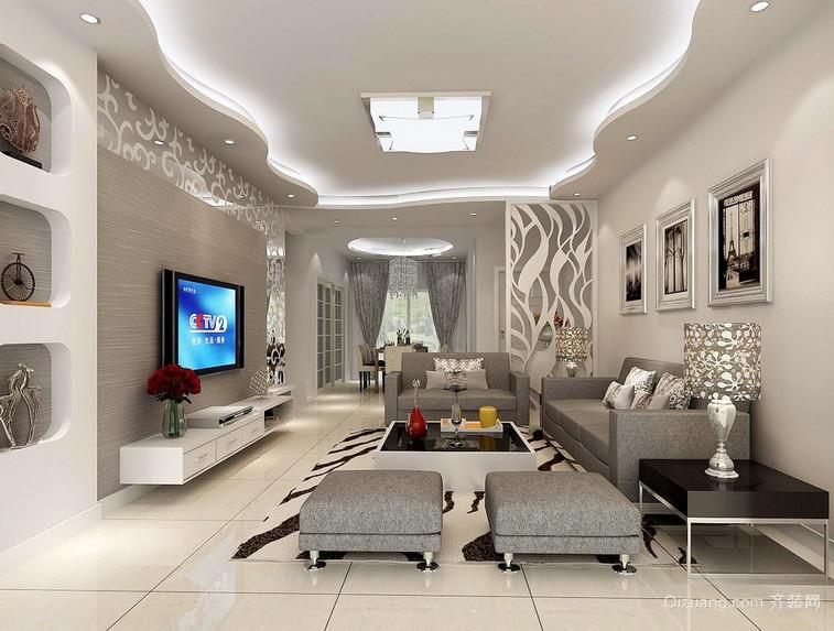 120平米传统风格客厅吊顶装修效果图