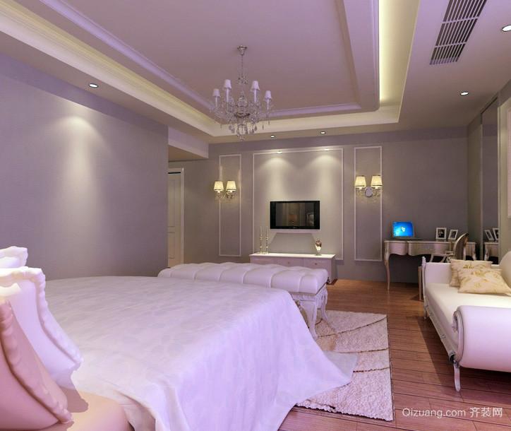 简欧式浅紫色房间大卧室装修设计图