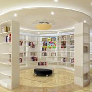 大型书店圆形书柜装饰