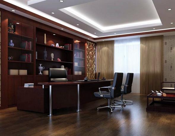 后现代风格深色系董事长办公室装修效果图设计