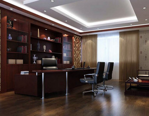 大型中式风格原木材料董事长办公室设计图