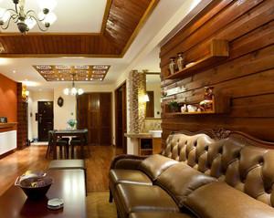 东南亚风格两居室客厅背景墙装修图片