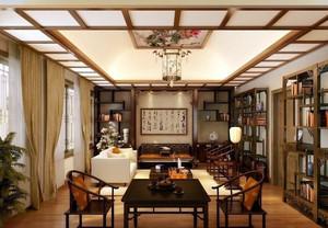中式小户型家居客厅博古架装修效果图