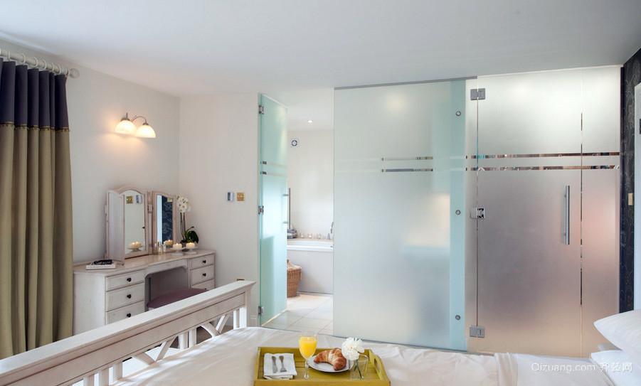 别墅清新风格磨砂玻璃门图片