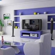 紫色与白色搭配客厅电视背景墙装饰
