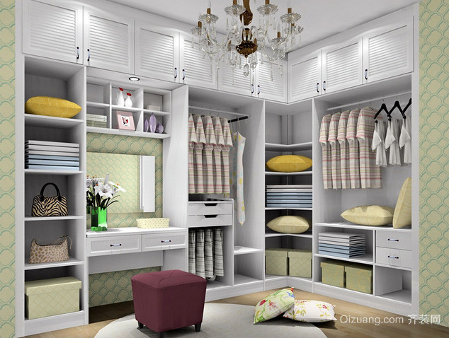 大型别墅欧式简约风格步入式衣帽间装修效果图