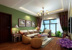 简约东南亚风格小客厅装修效果图片