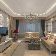 三室一厅欧式简约风格客厅装修效果图