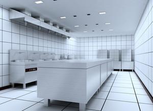 饭店深色调厨房设计装修效果图