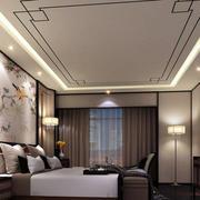 复式楼黑色系后现代风格卧室吊顶装修效果图